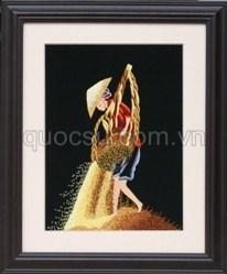 Tranh Thêu Phơi thóc - RM-025